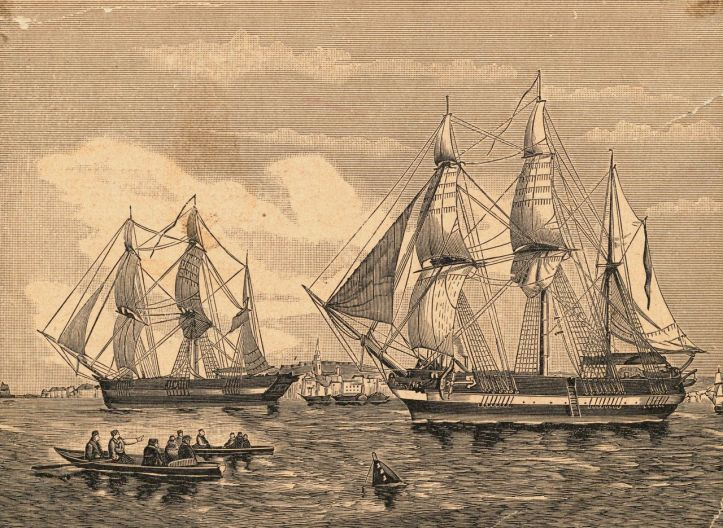 Engraving of HMS Erebus and HMS Terror