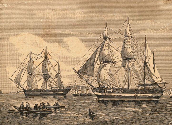 Engraving of HMS Erebus and HMS Terror
