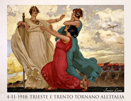 World War I, Italian propaganda poster showing a woman in a red gown (Trieste) and a woman in a green gown (Trento) kneeling before a woman in white gown and crown and holding a sword (Italy); in background soldiers march to battle and planes fly overhead. Original title: Finalmente!! Translation of original title: At last! Artist: Leopold Metlicovitz (1868 - 1944). Lithograph poster, color; 66 x 87 cm. G. Riccordi & Co. Milan. (Photo by Galerie Bilderwelt/Getty Images)